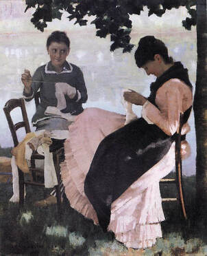 Sewing in the Shade by John Lavery